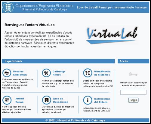 VirtuaLab. Pantalla de l'entorn web.